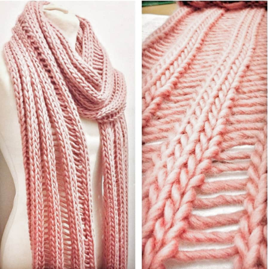 Knitting Kit For Beginners Uk : Beginner s drop stitch scarf knitting kit learn to knit