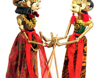 Hand Carved Wooden Traditional Javanese Puppets