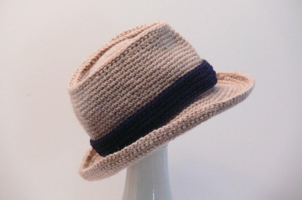 Free Crochet Patterns For Fedora Hat : Crochet Pattern Mens Hat Fedora Summer by MeadowvaleStudio