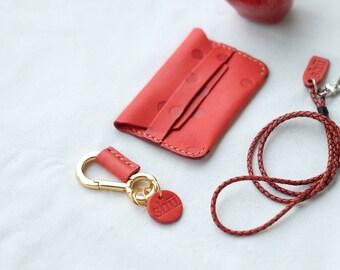 Leather Polkadot Card Bag / Card wallet / Polkadot / Leather Polkadot