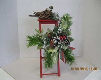 Christmas red ladder arangement or centerpiece. OOAK