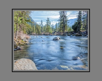 Winter Icicle River, Fine Art River Image, Smooth Flowing River Section
