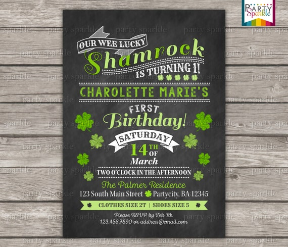 PRINTABLE St Patricks Day Shamrock Chalkboard Birthday Invite
