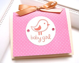 Congratulations Baby Girl Card - Baby Shower Card for Girl - Bird with Pink Polka Dots