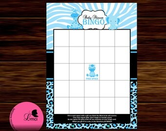 Blue Safari Baby Shower Bingo, Party Favors, Instant Download  - Digital File