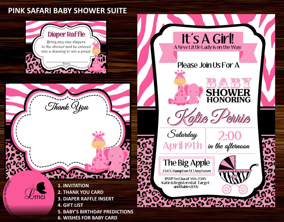 pink safari baby shower invitation thank you by adtrcustomdesigns
