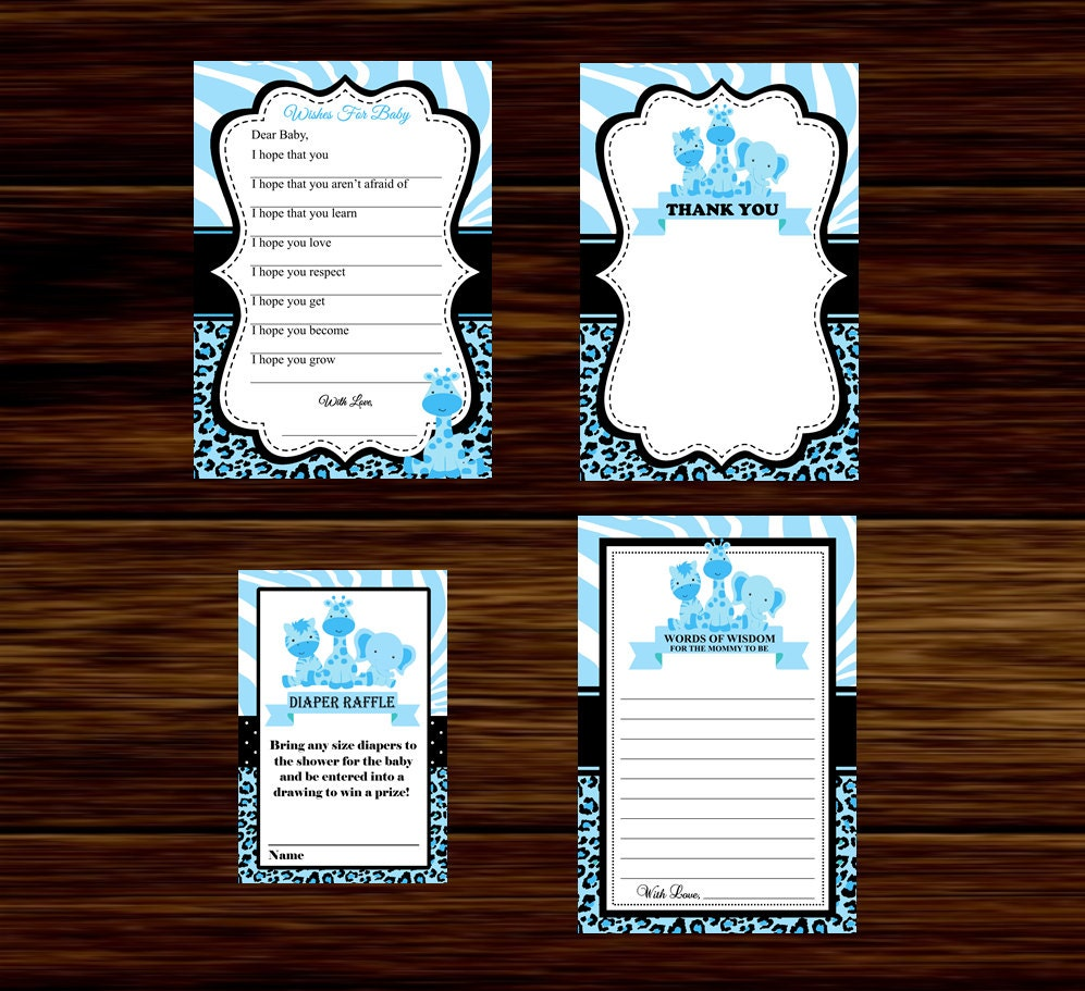 blue safari baby shower favors advice card thank you card