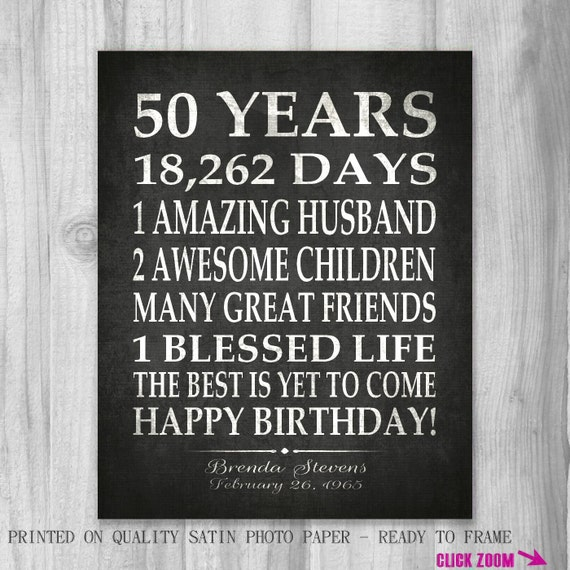 Best 25 Happy Birthday Kids Ideas On Pinterest: 50th BIRTHDAY Party Gift Personalized 50 Birthday Print Over
