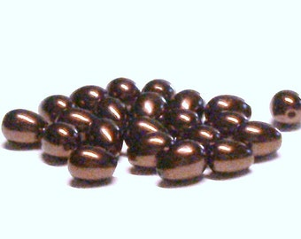 Teardrop Glass Pearl Beads 9 MM X 7 MM in Brown (20)