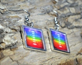 CHAKRA COLORS Rainbow Dangle Earrings handmade Resin Jewelry Yoga Jewelry Multicolored Earrings Colorful Jewelry Square Earrings