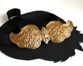 """Black and Gold Scroll Elastic Belt size 38"""" or smaller"""