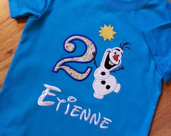 Olaf with Sun Frozen Disney Birthday Shirt / Onesie  - Any Birthday - Personalized Monogrammed Embroidered Shirt Onesie