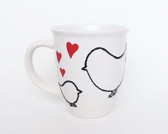 Love Birds Mug, Love Mug, Coffee Cup, Coffee Mug, Love Birds Mug, Birds Mug, Birds Cup, Heart, Heart Mug, Heart Cup, Cup, Mug
