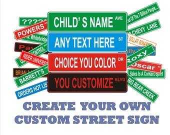 "2 Sided Aluminum Custom Personalized Street Signs 6"" x 24"""