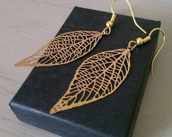 Gold leaf earrings - elegant and dainty dangle earrings - thin gold leaf drop earrings