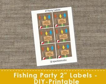 Fishing Party Labels -  DIY - Printable - SparkleStudio