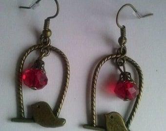 bird earring witth cristal crystal sparrow earrings