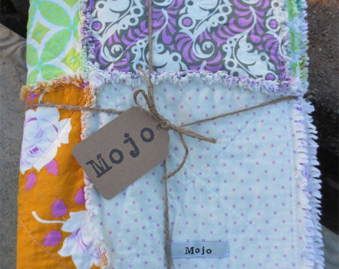 Handmade Large Reversible Rag Quilt Throw - Lottie Da Fabric Collection - Purple, Orange, Lime Green, Orange - Ready to Ship