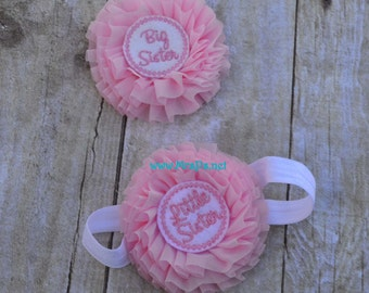 Little Sister headband and big sister clip in pink and white