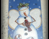 Snowman Angel Christmas Winter painting pattern instant download