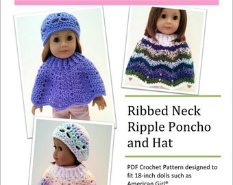 Pixie Faire Sweet Pea Fashions Ribbed Neck Ripple Poncho and Hat Doll Clothes Crochet Pattern for 18 inch American Girl Dolls- PDF