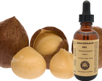 100% Pure, Organic Macadamia Oil. Helps to reduce skin irritations, scars, stretch marks, fine lines and wrinkles