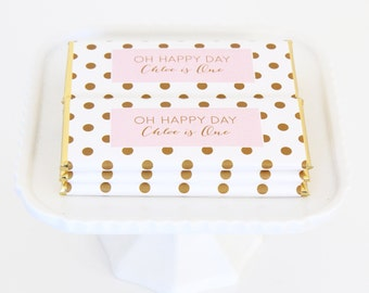Simply Polka Dots Personalized Candy Bar Wrapper. Choice of Gold, Silver, Gold Copper, Copper or Black Foil included.