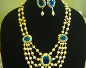 Victorian/Renaissance Necklace and earring set - cream and blue
