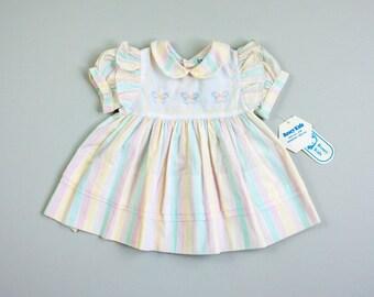 NOS Vintage 80's Pastel Stripe Peter Pan Collar Dress / Cross Stitch Butterflies / Pleated Tent Dress / 6-9 Month Baby Girl