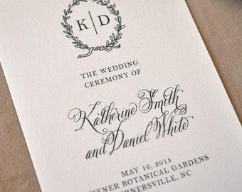 English Garden Wedding Program, Green Ink, Monogram Program, Calligraphy