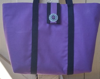 Purple Canvas Tote Bag, beach bag, overnight tote, work bag, Back to school bag