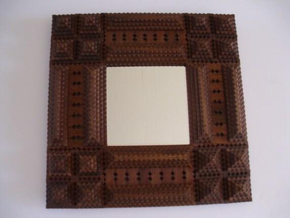 Handcarved wood tramp art frame mirror