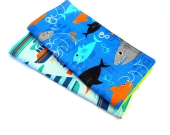 "Fish and Boats Double Sided Lunch Cloth Napkins -Set of Sharks Ocean 8.5x8.5"" Napkins"