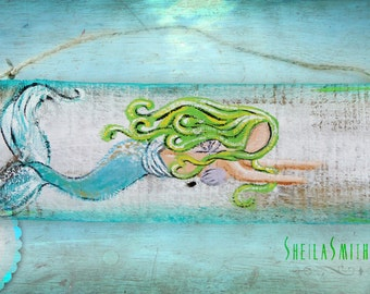 "Mermaid Art, Wall Decor, Recycled barn wood, hand painted ""Flopsy"" the Mermaid by SheilaSmithDesigns©"