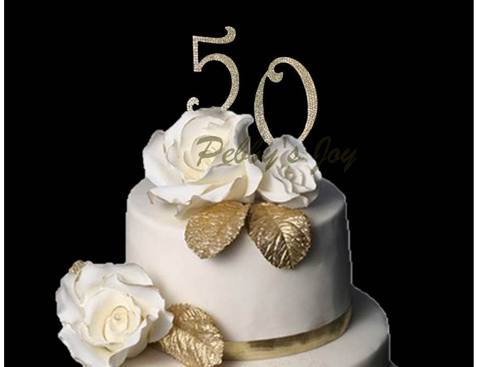 Gold 50th Cake Topper Birthday Anniversary Crystal Covered