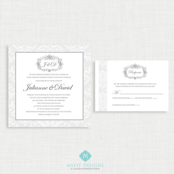 Printable Wedding Invitation with RSVP -chic and elegant wedding invitation template, Grey and Blue, Colours Customizable, 5x5