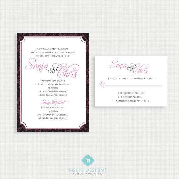 Printable Wedding Invitation - Classic and elegant wedding invitation with RSVP- printable file - DIY printable wedding invitation -