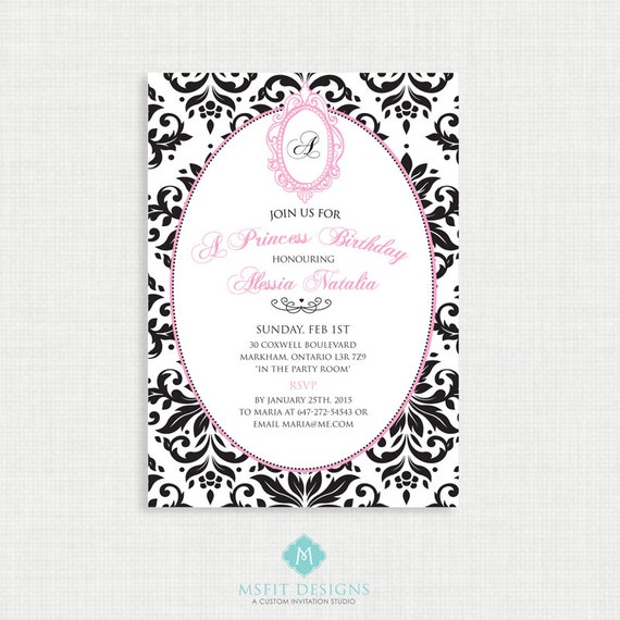 Printable Birthday Invitation- Princess Birthday Invitation, Princess Birthday Party Invitations, DIY,  Printable Template, Diva Birthday