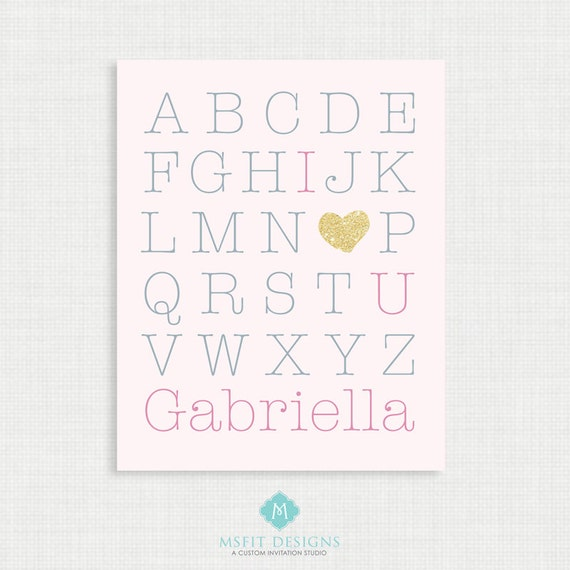 Printable Nursery Art- Alphabet Poster - Nursery Art Print - I Love You Print - 8x10- Kids Nursery Wall Art