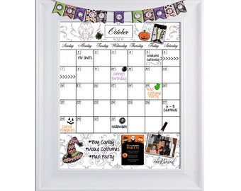 Family organization magnetic dry erase calendar