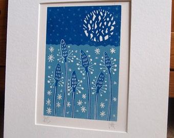 Ribwort Lino Print.