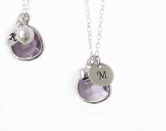Lilac bridesmaids necklace Sterling silver necklace Customizable Necklace Lavender Charm Necklace Personalized necklace Initial necklace
