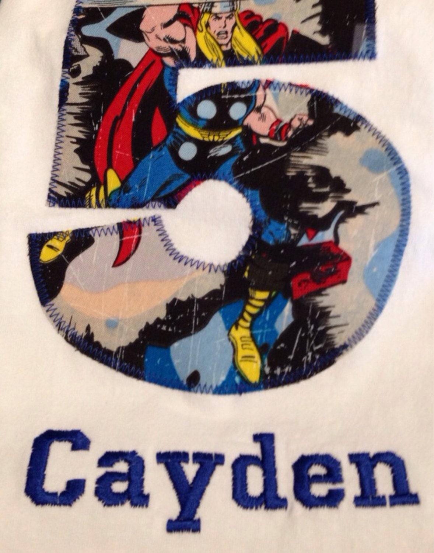 AVENGERS BIRTHDAY Shirt Kids Appliqued Personalized T Marvel Captain America
