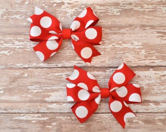 Red and White Polka Dot Bows, Christmas Pigtail Bows, Red Pigtail Hair Bows, Valentines Day Bows, Red Pigtail Bows, Red Bow Clips, Red Clips