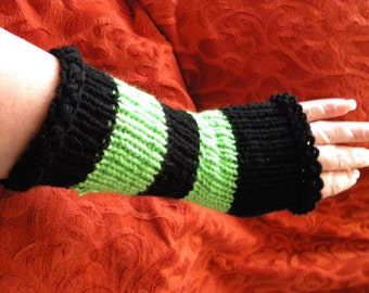 Handmade knitted and crochet fingerless striped gloves, hand warmers