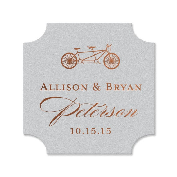 Personalized Wedding Coasters - bar coasters, personalized coasters, weddings, coasters, favors, bridal shower, bicycle, wedding favor