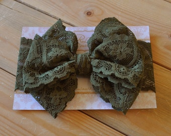 The Maddie - Olive Green Bow - Olive Green Lace Bow - Lace Bow Headwrap - Lace Headband