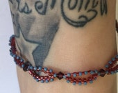 Brick and Denim Adjustable Anklet with Burgundy Swarovski Crystals and Silver Extender Chain