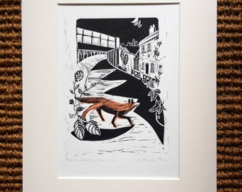 Fox on Cherry Tree Hill, Limited edition lino print, handmade in Shropshire