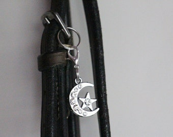 Horse Bridle Charm Rhinestone Crescent Moon and Star, Equestrian Jewelry, Horse Jewelry